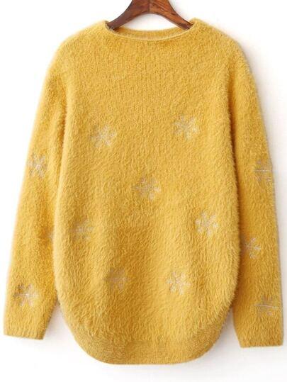 Yellow Snow Pattern Curved Hem Sweater