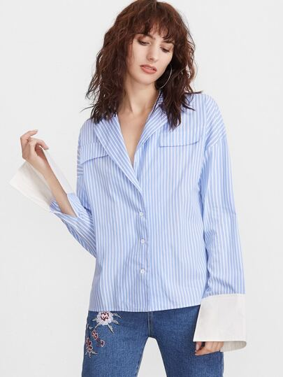 Blue Vertical Striped Flap Front Contrast Cuff Blouse