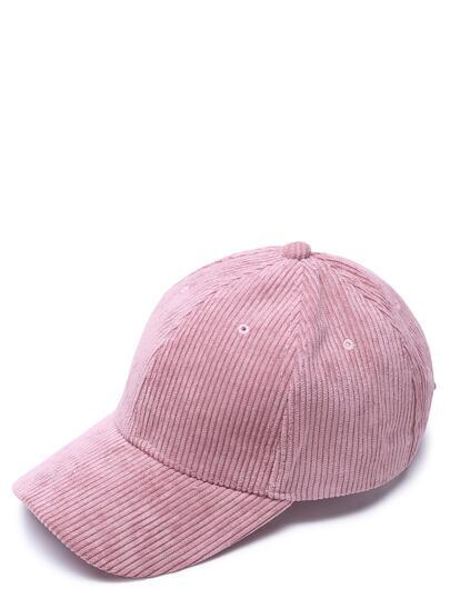 Casquette de baseball décontrasé velours côtelé -rose