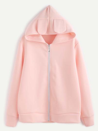 Pink Rabbit Ear Hooded Zipper Up Sweatshirt