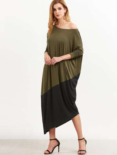 Contrast Dolman Sleeve Asymmetric Cocoon Dress