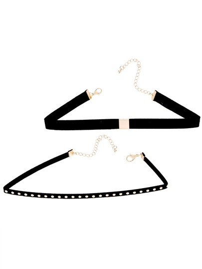 Black Band Metal Trim Studded Choker Necklace Set