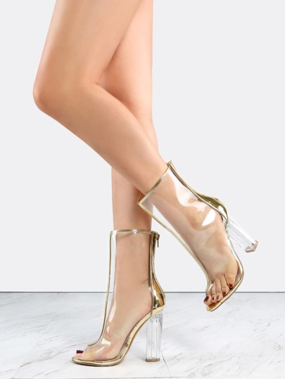 Metallic Lined Perspex Boots GOLD