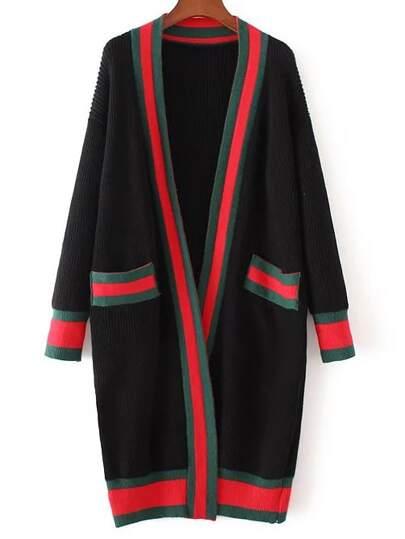 Black Contrast Trim Sweater Coat With Pocket