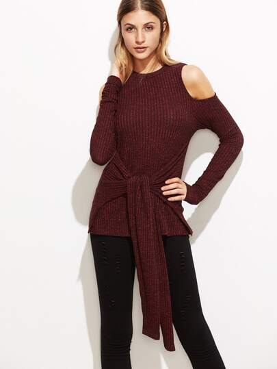 Burgundy Marled Open Shoulder Tie Front Ribbed Top