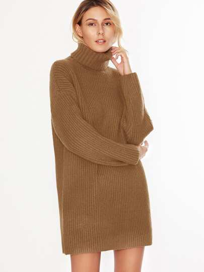 Camel Turtleneck Drop Shoulder Sweater Dress