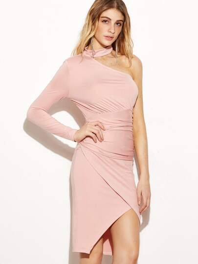Pink Halter Neck One Shoulder Ruched Wrap Dress
