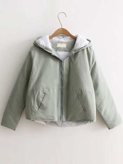 Light Green Back Pocket Padded Coat With Cute Hooded