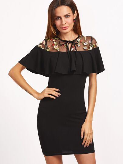 Black Tied Embroidered Mesh Yoke Ruffle Bodycon Dress