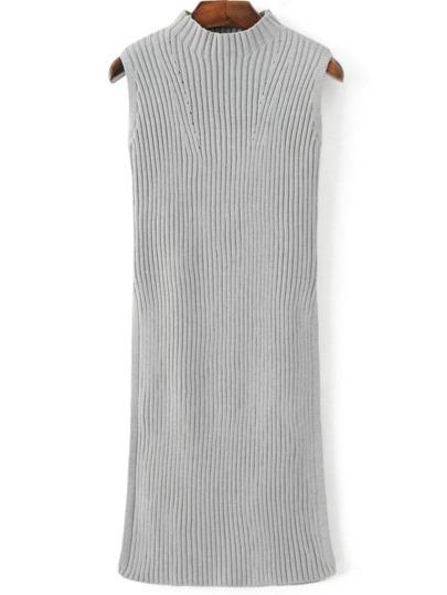 Vestido de punto sin mangas con cuello alto - gris