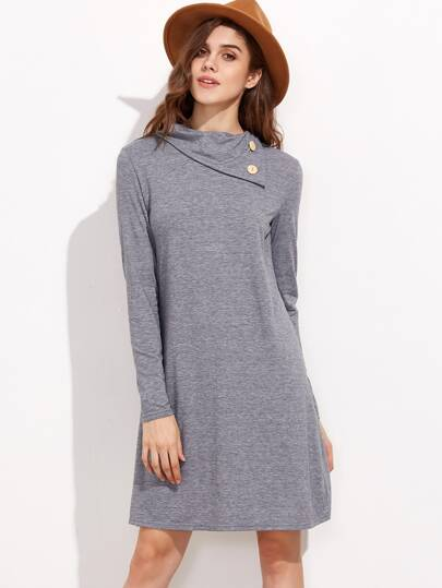Light Grey Buttoned Turtleneck Dress