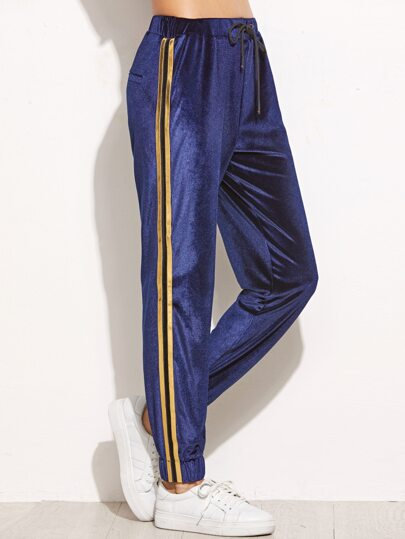 Navy Side Striped Drawstring Velvet Sweatpants