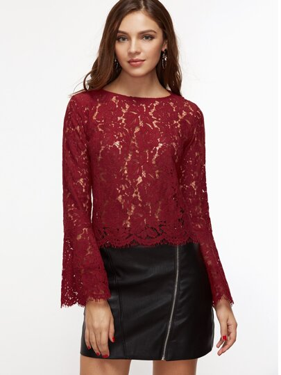 Bell Sleeve Scallop Hem Floral Lace Top