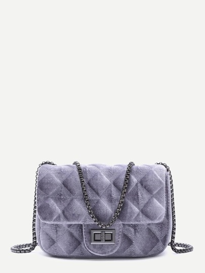 Grey Velvet Meander Pattern Quilted Crossbody With Chain Strap