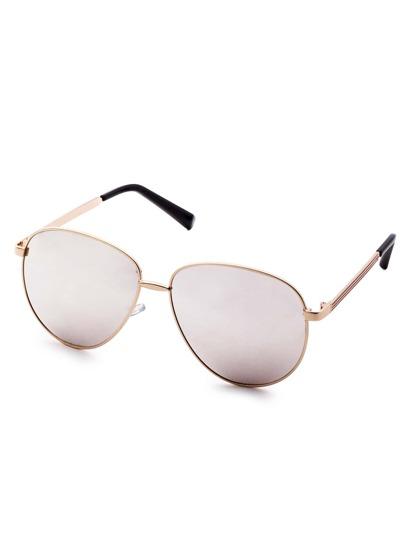 Metal Frame Grey Mirrored Lens Aviator Sunglasses