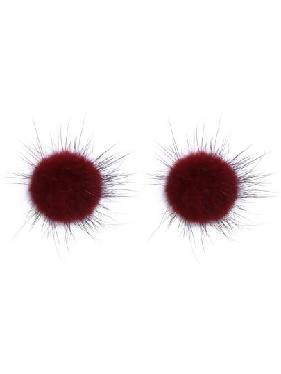 Burgundy Fluffy Pom Pom Stud Earrings