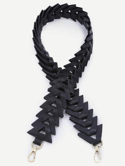 Black Geometric Triangle PU Link Shoulder Strap