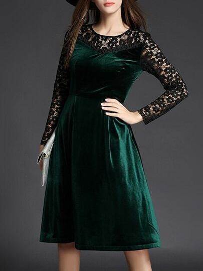 Green Contrast Lace Velvet Dress