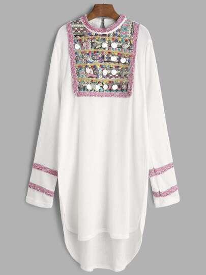 White Coin Fringe Trim Jacquard Yoke High Low Dress