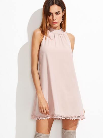 Pink Halter Contrast Crochet Hem Chiffon Dress