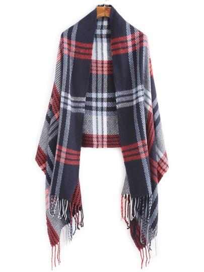 Echarpe longue tricotée avec frange