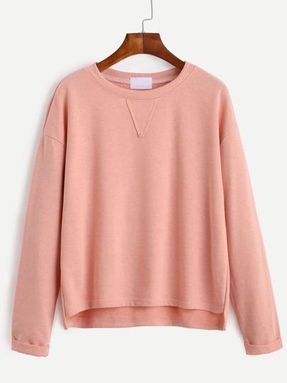Pink Drop Shoulder High Low Cuffed T-shirt