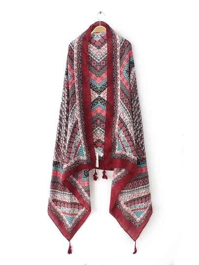 Бордовый шифоновый шарф с этническим принтом с бахромой