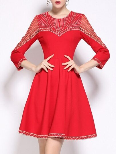 Red Embroidered A-Line Dress