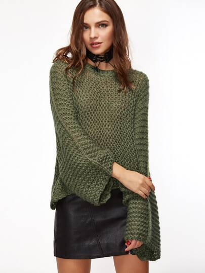 Olive Green Loose Knit Kimono Sleeve Sweater