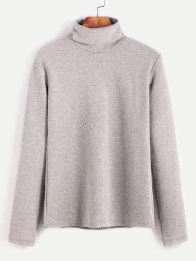 Camiseta con cuello alto de manga larga - gris