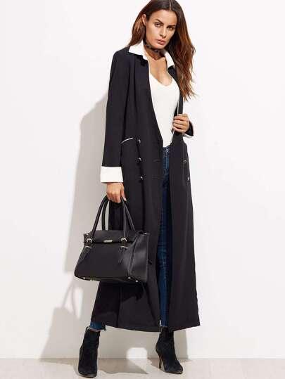 Abrigo largo con botones de color combinado