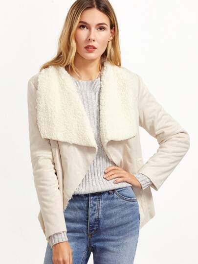 White Drape Collar Faux Shearling Jacket
