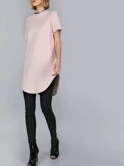 Pink Splash Print Curved Hem Distressed Tee Dress
