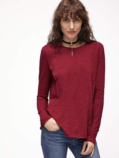 Burgundy Raw Seam Swing Slub T-shirt