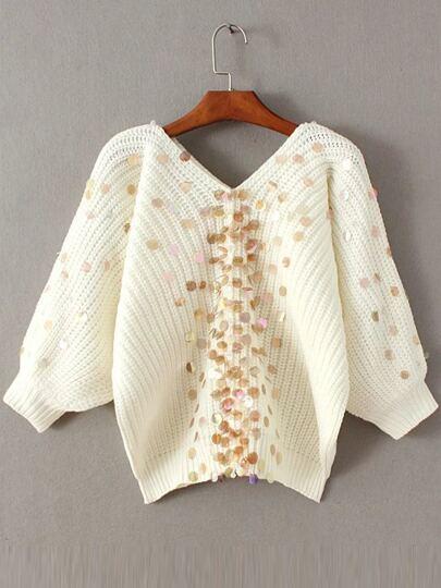 White Sequin Detail V Neck Lantern Sleeve Sweater