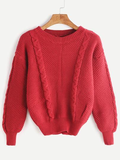 Jersey de punto de ochos con hombro caído - rojo
