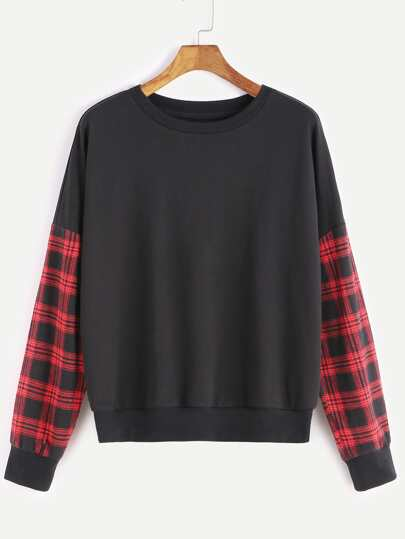 Black Drop Shoulder Plaid Sleeve Sweatshirt