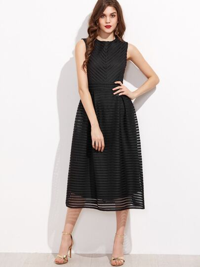 Black Hollow Out Flare Sleeveless Dress