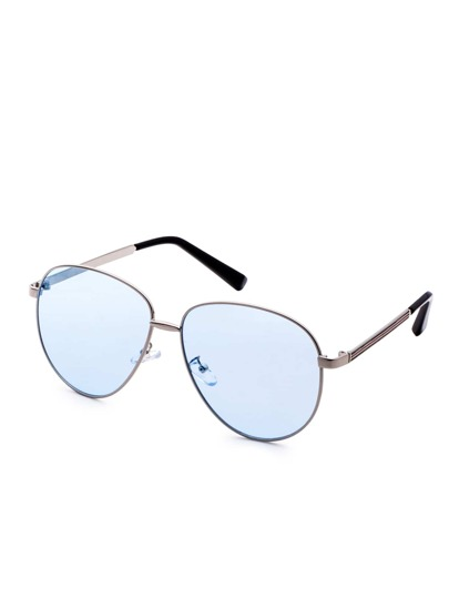 Metal Frame Blue Lens Retro Style Sunglasses