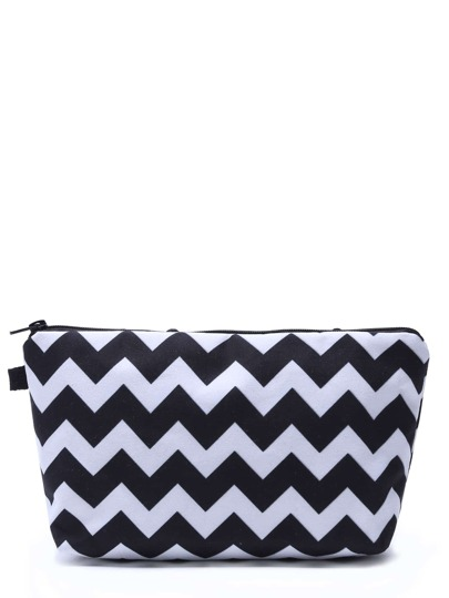 Black And White Geometric Line Print Cosmetic Makeup Bag