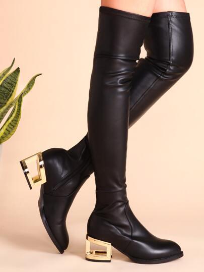 Bottes en PU côté zippé hauts de cuisse avec talon découpé -noir