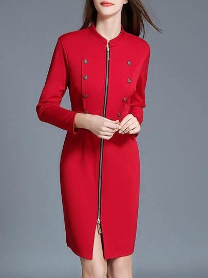 Red Zipper Split Sheath Dress