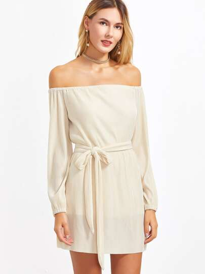 Apricot Off The Shoulder Cord Dress With Self Belt
