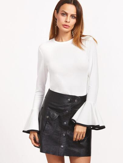 White Contrast Binding Bell Sleeve T-shirt