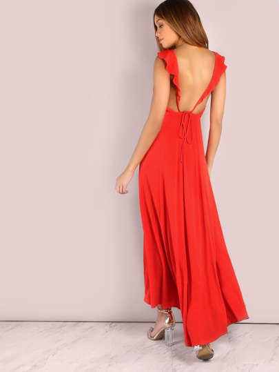 Low Back Frill Maxi Dress RED ORANGE