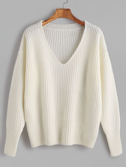 Jersey escote V con hombro caído - blanco