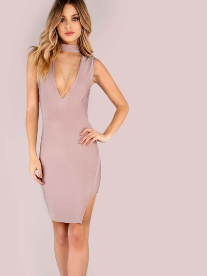 Deep V Choker Neck Asymmetrical Bandage Bodycon Dress MAUVE