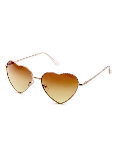 Metal Heart Shaped Frame Brown Lens Sunglasses