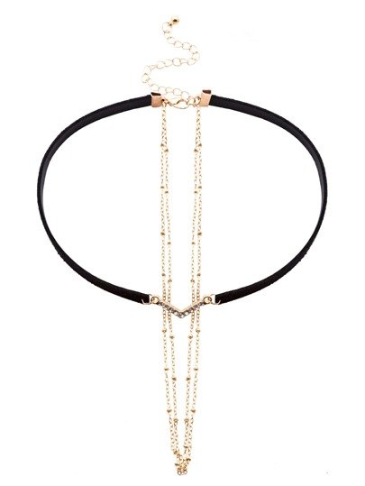 Black Faux Leather Layered Chain Rhinestone Choker Necklace