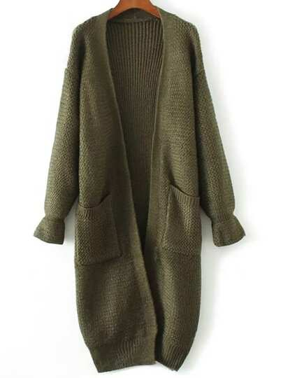 Army Green Bell Sleeve Long Cardigan With Pocket